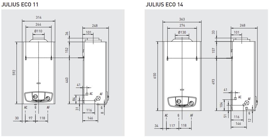 Scaldabagno a Gas Immergas Julius Eco 11 litri - camera aperta dimensioni e attacchi